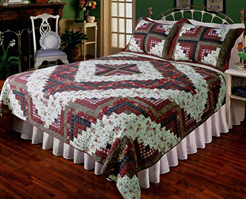Barn Raising Quilt - Elegant Decor Ruby Log Cabin Cotton Patchwork Quilt Collection (Deluxe King Quilt 106