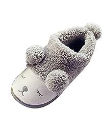 Cute Sheep Winter Warm Women Men Boy Girl Home Slippers Mules Plush Flat Shoes