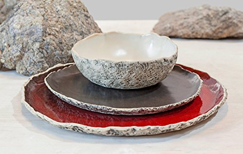 Stunning handmade organic dinnerware setting, Large ceramic dinner set ,Stoneware dinner setting, Red Dinner plate, Wedding gift, Birthday gift. Natur…