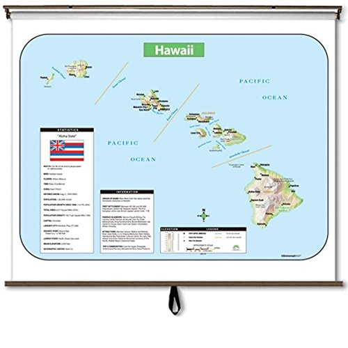 Hawaii Large Scale Shaded Relief Wall Map on Roller with Backboard