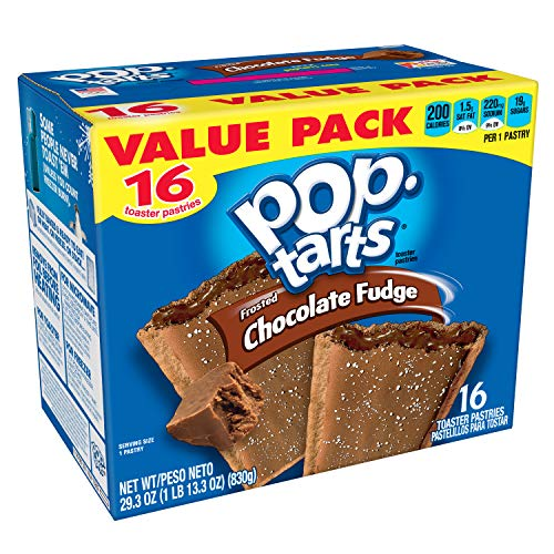 Pop-Tarts Breakfast Toaster Pastries, Frosted Chocolate Fudge Flavored, Value Pack, 29.3 oz (16 Count) (Low Fat Brown Sugar Cinnamon Pop Tarts)