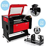 Superland 80W CO2 Laser Engraver Engraving Cutting Machine 700x500mm Rotary Axis with 80mm 3-Jaw 230mm Track (80W Laser Engraving Machine+Rotary AXIS)