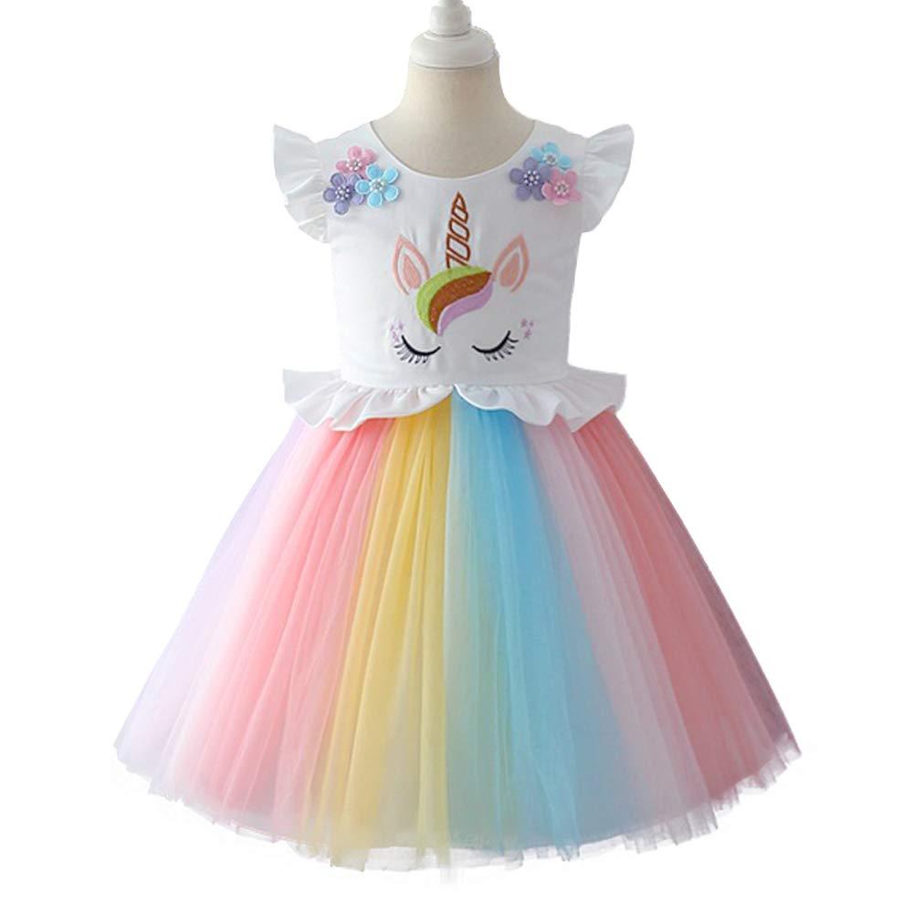 IWEMEK Baby Girls Unicorn Princess Birthday Dress Kids Halloween Cosplay  Ruffled Sleeveless Rainbow Tulle Tutu Dress Wedding Christmas Party Pageant  ... 31a21b67d18c