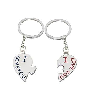 Dosige 2 Piezas Metal Kissing Couple Keychain llavero de coche creativo regalo de boda Llavero suerte Personalidad de la Moda Llavero Llavero Corazó ...