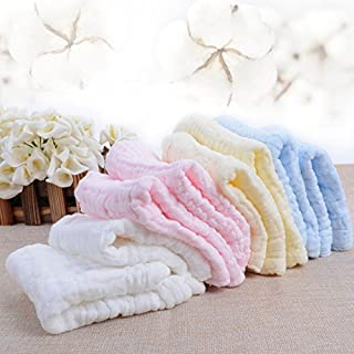 UOMNY Baby Muslin Washcloths Baby Soft Super Water Absorbent Towel Natural Organic Cotton Face Towel 6 Layers Newborn Baby Sensitive Skin as Shower Gift 5 Pack 10x10inches