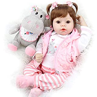 Aori Lifelike Reborn Baby Doll 22 Inch Real Looking Weighted Reborn Doll with Pink Clothes and Hippo Toy Accessories Best Birthday Set for Girls Age 3