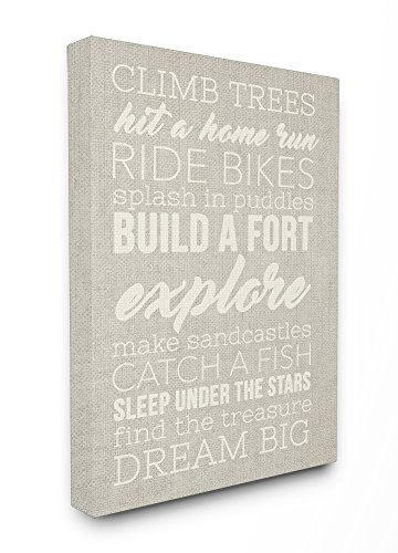 (Stupell Home Décor Climb Trees Dream Big White with Tan Stretched Canvas Wall Art, 16 x 1.5 x 20, Proudly Made in USA)