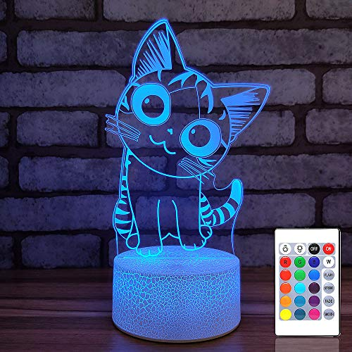 Cat 3D Illusion Night Light for Kids Cute Kitty LED Lights 7 or 16 Colors Dimmable Table Lamp with Remote & Smart Touch…
