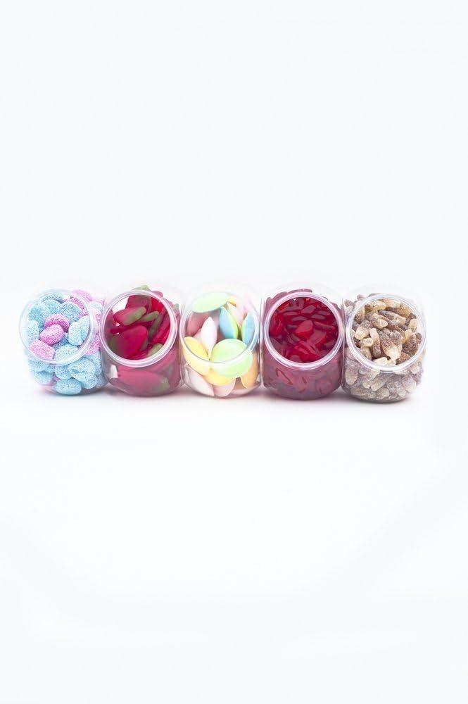 Sweet Table Kit Set per buffet delle caramelle Black Sweet Bag 5 pinze e 100 buste per caramelle a righe colore delle buste a scelta tra rosa, blu, viola, rosso, verde, grigio, nero, giallo composto da: 10 barattoli di plastica dimensioni 13 x 18 cm