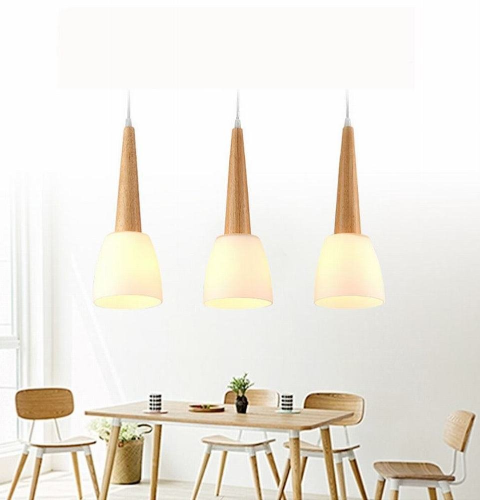 DEN Restaurant chandelier three simple art dining room lamp wood creative personality bar table lamp small chandelier,warm light,3 heads