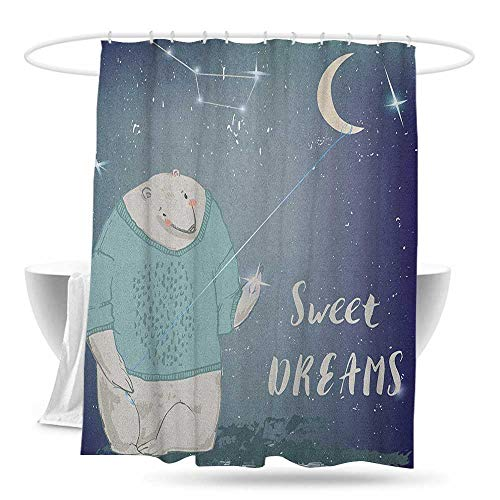 huimaoxiangbaowangdian Shower Curtain with Hooks Kids Polar Bear in a Sweater Holding a Star in His Hand Sweet Dreams Print for Master Kid's Guest Bathroom W70×L70 Pale Grey Indigo -