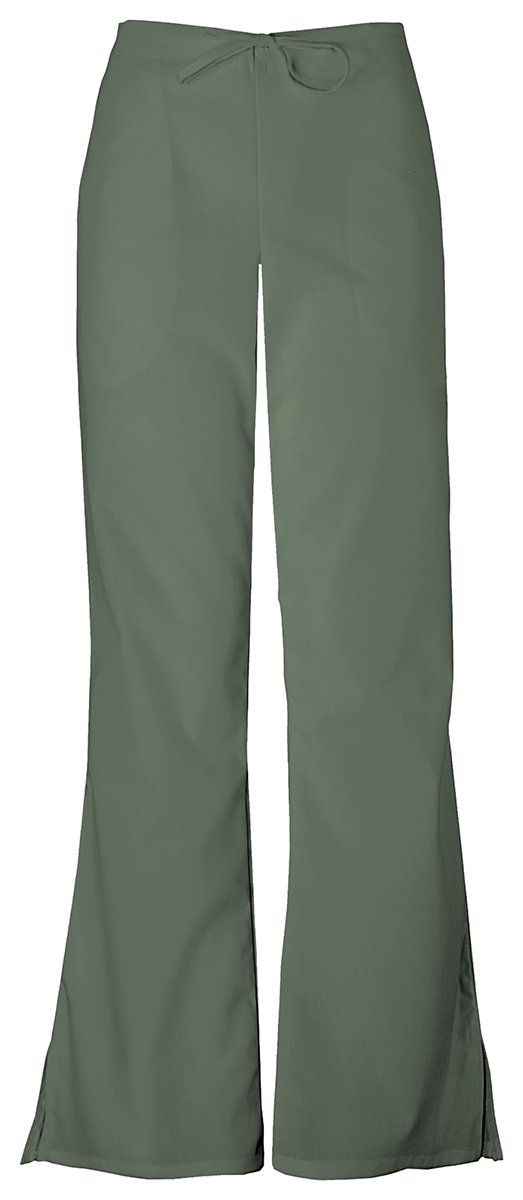 Cherokee Women's Natural Rise Flare Leg Drawstring Pant_Olive_Medium