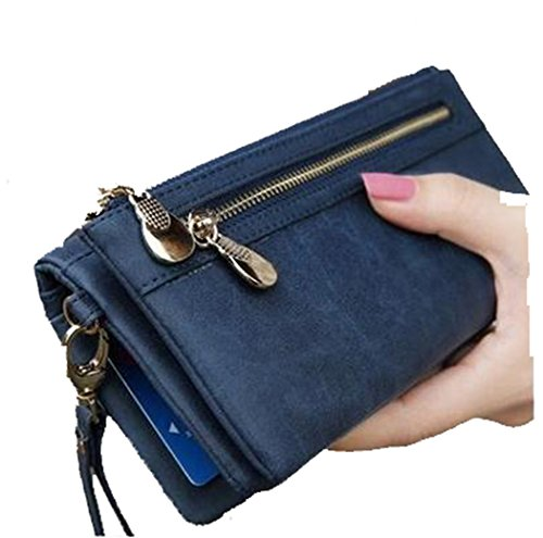 Fashion Women Wallets Dull Polish Leather Wallet Double Zipper Day Clutch Purse Wristlet Portefeuille Handbags Carteira Feminina by TheBigThumb