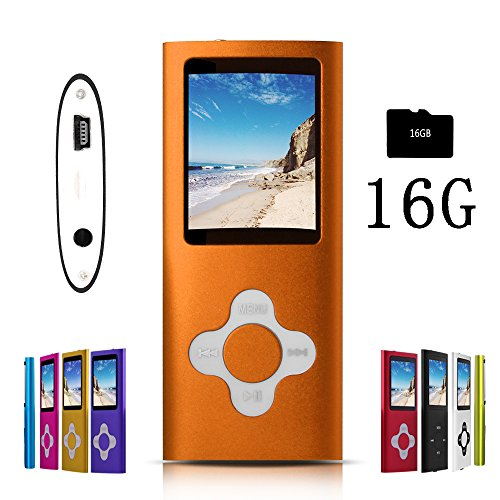 G.G.Martinsen Orange Stylish MP3/MP4 Player with a 16GB Micro SD Card, Support Photo Viewer, Mini USB Port 1.8 LCD, Digital Music Player, Media Player, MP3 Player, MP4 Player