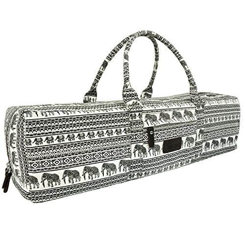 MiChef Yoga Mat Bag - Patterned Canvas Duffle Bag with Zipper and Pocket (Ethnic Elephant- Classic)