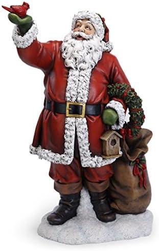 Napco Santa Claus with Red Cardinal Bird 31 Inch Resin Christmas Tabletop Figurine