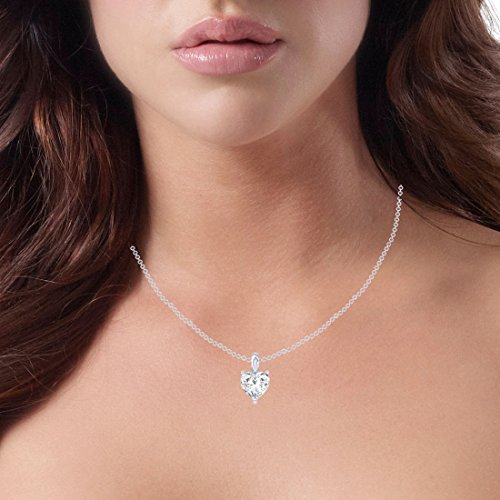 Clara 92.5 Sterling Silver White Gold Plated Heart Solitaire Pendant Chain Necklace for Women & Girls