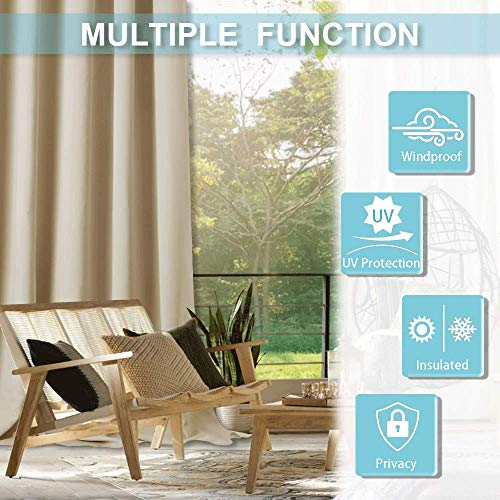 RYB HOME Outdoor Patio Curtain - Heavy - Duty Water & Wind Proof Stain Proof Blackout Curtains Courtyard Exterior Shade for Porch/Farmhouse, 1 Piece, W 52 x L 95 in, Biscotti Beige by RYB HOME (Image #7)