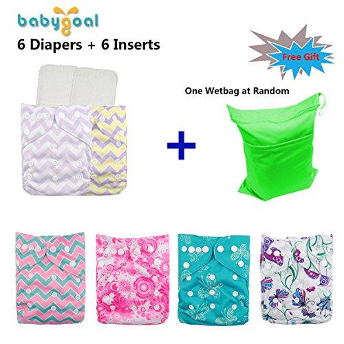 Babygoal Baby Adjustable Reuseable Pocket Diaper Pail 6pcs + 6 Inserts ,Girl color 6FG23