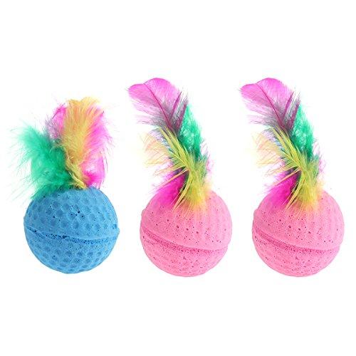(UEETEK 3 PCS Creative Cute Pet Toys Sponge Balls Kitty Kitten Toys Cat Catcher Toys with Feather Tails)