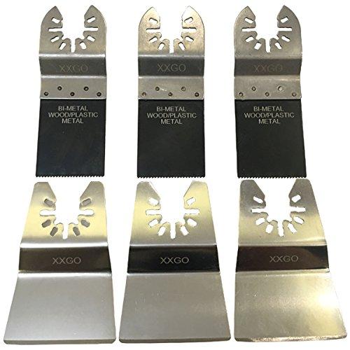 XXGO 6 Pcs Universal Oscillating Multi Tool Bi Metal Scraper Blades Accessories Sets For Metal Wood Cutting Scraping