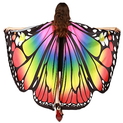 Soft Fabric Butterfly Wings Shawl Fairy Ladies Nymph Pixie Costume Accessory(Rainbow) -
