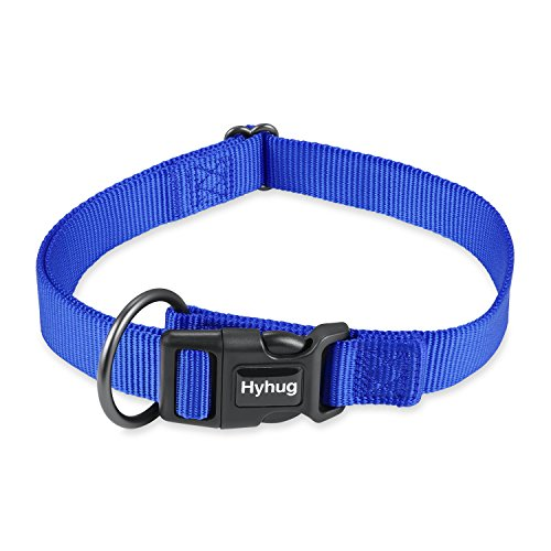 Plastic Leash Dog (Hyhug Strong Nylon Classic Basic Dog Collar - Quick Release Buckle Down Plastic Clip Collar for Medium Boy and Girl Dogs and Matching for Leash.(Medium,Bright Blue))