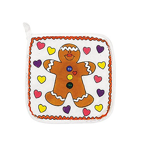 1 ~ Color Your Own Holiday Pot Holder ~ Canvas ~ 7 3/4