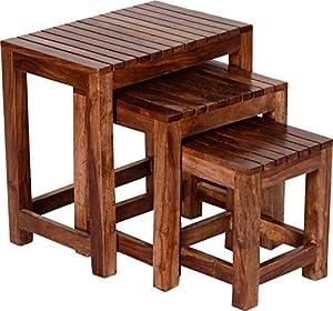 Zivanto Sheesham Wood Nesting Tables for Living Room   Wooden Stool   Bedside End Table   Set of 3   Honey Brown Finish