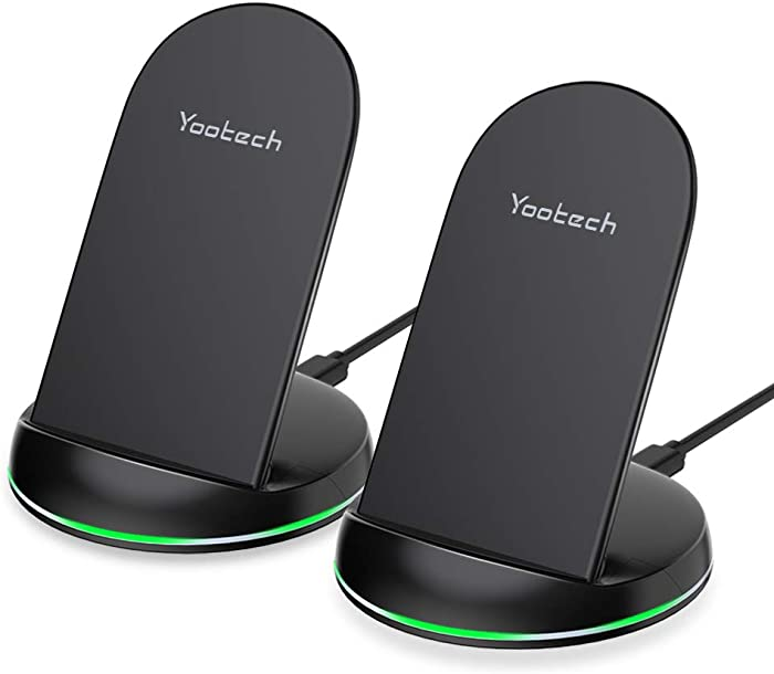 Yootech [2 Pack] Wireless Charger Qi-Certified 10W Wireless Charging Stand,7.5W Compatible with iPhone 11/11 Pro/11 Pro Max/Xs MAX/XR/XS/X/8/8Plus, Galaxy Note 10/Note 10 Plus/S10 Plus(No AC Adapter)