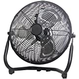 Cool Works VE-300X 12 3-Speed High Velocity Metal Floor Fan 3, Black