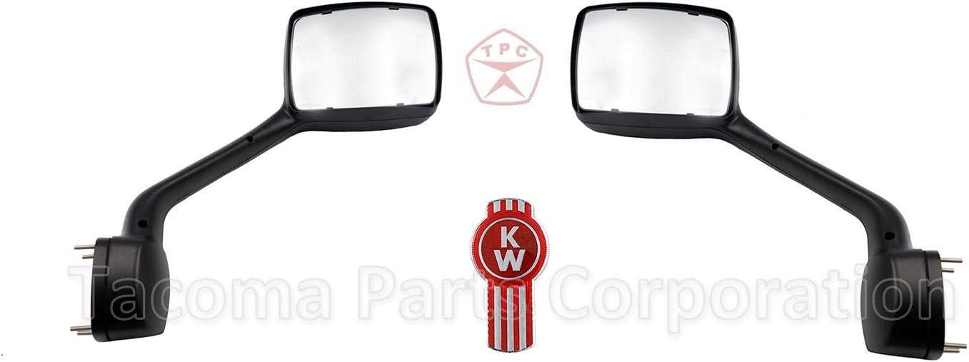 QSC Chrome Hood Mirror Pair for Kenworth T680 Peterbilt 579 LH RH