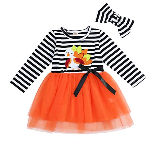 Baby Halloween Outfits Kids Girls Pumpkin Print Long Sleeve Dress Striped Skirts Thanksgiving Day Clothes (1T/2T, -