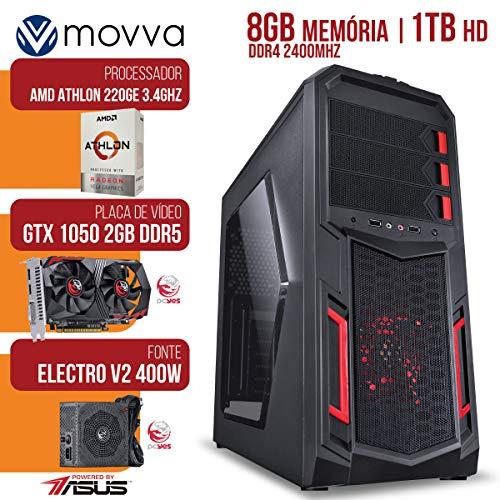 COMPUTADOR GAMER ATHLON 220GE 3.2GHZ. MEM. 8GB DDR4 HD 1TB GTX 1050 2GB GDDR5 128BITS FONTE 400W - LINUX - MOVVA