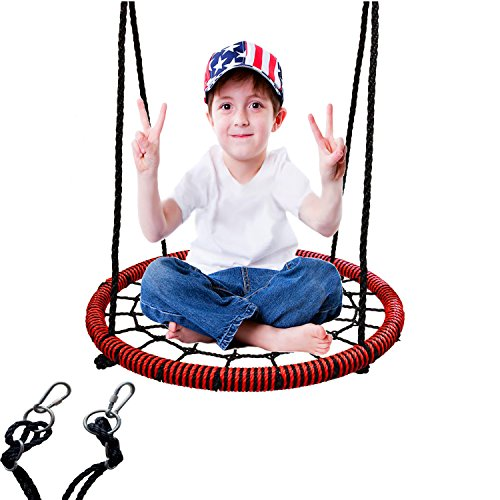 LaTazas Web Tree Swing - 24 Inches Diameter, Fully Assembled Kids Net Swing for Playground Indoor and Outdoor, Extra Safe and Durable(Including 2 Carabiners Free)