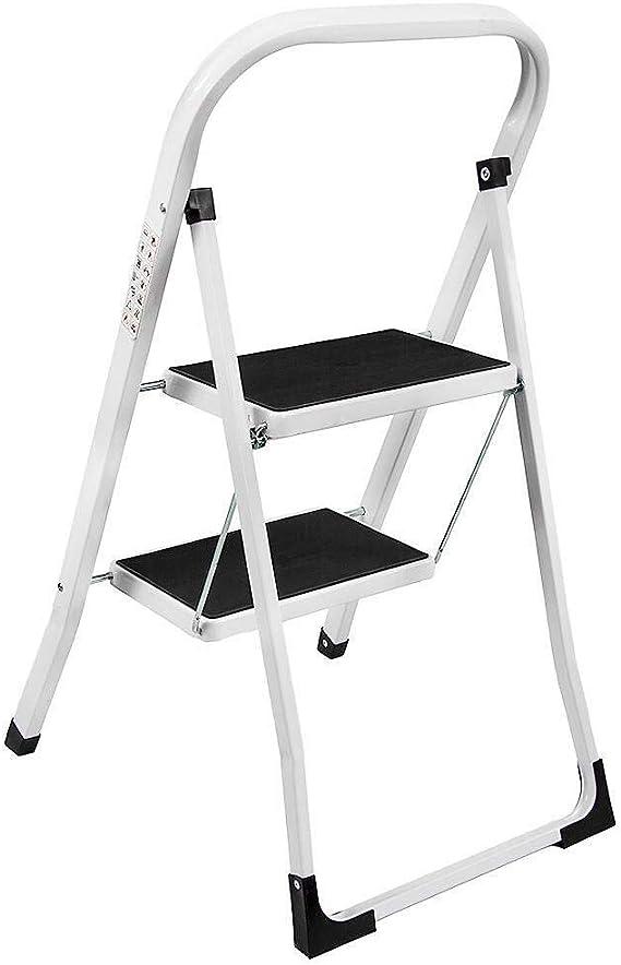 CHUJI Paso 2 heces Escalera Plegable de Seguridad Plegable Fuerte Antideslizante de Caucho Pasos con el Apoyo del Carril y Tight Grip Las crestas de Seguridad Escaleras de Mano for la Cocina