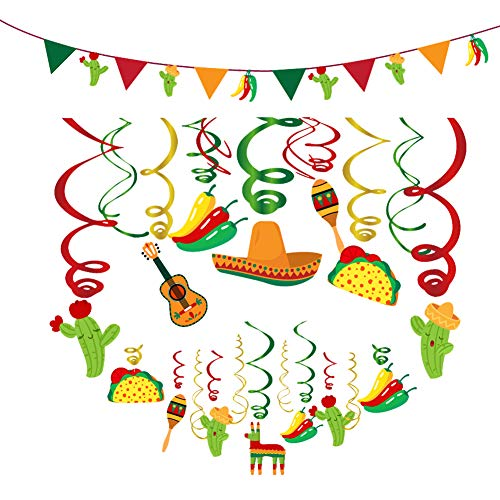 Fiesta Party Banner and Cinco De Mayo Hanging Swirl Decorations - Mexican Themed Favors with Cactus, Guitar, Chili, Sombrero, ()