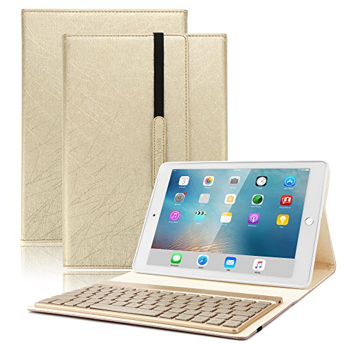 iPad Keyboard Case for Pro 10.5 - BoriYuan 7 Colors Backlit Detachable Wireless Keyboard Smart Cover with Magnetic Auto Sleep/Wake Feature for Apple iPad Pro 10.5 inch 2017(A1701/A1709) -Gold