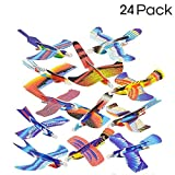 Kidsco 24 Pack Foam Bird Glider Plane Set 7 inch, Assorted Colors and Styles - Make Your Own Flying Glider Bird - for Kids, DIY, Toys, Prize, Party Favor