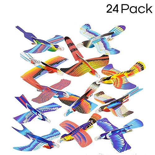 Kidsco 24 Pack Foam Bird Glider Plane Set 7 inch, Assorted Colors and Styles - Make Your Own Flying Glider Bird - for Kids, DIY, Toys, Prize, Party Favor -