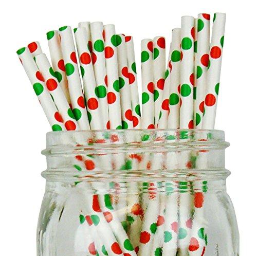 Sherbert Dot (Just Artifacts Decorative Polka Dot Paper Straws (100pcs, Polka Dot, White w/ Red & Green Dots))
