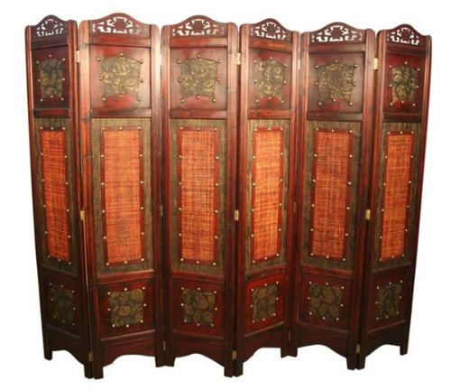 Vintage Oriental Style 6 Panels Screen Room Divider Asian Home