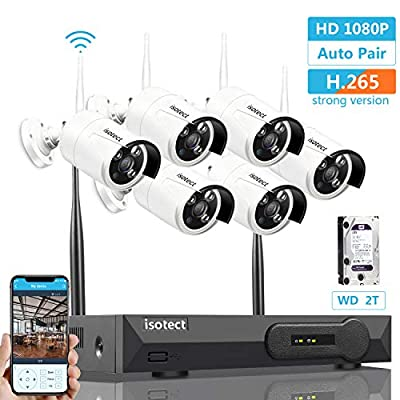 isotect H.265 Security Camera System Wireless, 6pcs 1080P Cameras WiFi NVR Kit with 2TB HDD