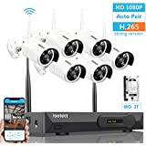 [Newest H.265 Stronger WiFi] Wireless Security Camera System, ISOTECT 8CH Full HD 1080P Video Security System, 6pcs Outdoor/Indoor IP Security Cameras, 65ft Night Vision and Easy Remote View, 2TB HDD