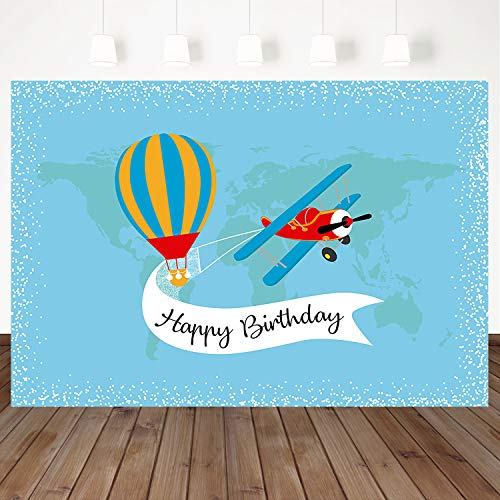 Mocsicka Happy Birthday Background Travel Around The World Backdrop Airplane Hot Air Balloon Decoration Background 7X5ft Vinyl Photo Photography Backdrops Boy Birthday Party Banner Props