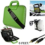 Green Cady Executive Leather Hard Cube Carrying Case with Shoulder Strap For Barnes & Noble NOOK HD 7-inch Tablet + Auxiliary+ Windshield Car Mount