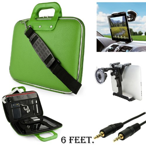 Green Cady Executive Leather Hard Cube Carrying Case with Shoulder Strap For Lenovo IdeaTab A2109 Tablet + Auxiliary + Windshield Car Mount (Lenovo A2109a Tablet Idea Case)
