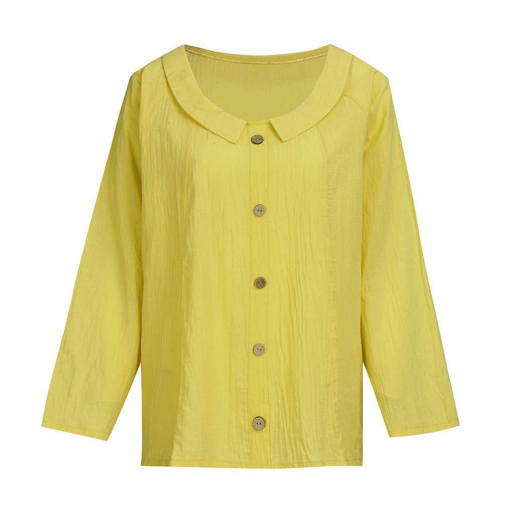 Moonuy Femmes Coton Haut en Lin Femmes D/ét/é Solide T-Shirt Femmes Col Rond Bouton Blouse Chemise D/écontract/ée Tops Femmes Chemise De Couleur Pure Daily Wear