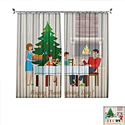 "Decorative Curtains For Living Room Flat design vector Happy Thanksgiving Day postcard greeting card template family at the festive table with fireplace turkey Holiday flat collection W108"" x L96"""