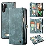 Galaxy Note10 Plus Wallet Case,AKHVRS Handmade Premium Cowhide Leather Wallet Case,Zipper Wallet Case [Magnetic Closure] Detachable Magnetic Case & Card Slots for Samsung Galaxy Note 10 Plus - Blue